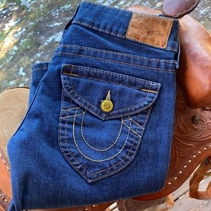 True Religion Bootcut Jeans,  Yellow Buttons